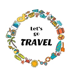Lets go travel Hand drawn travel concept Cute vector image