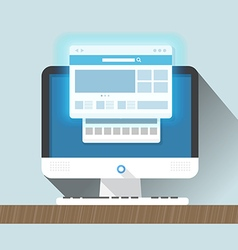 Modern personal computer with a browser Flat vector image