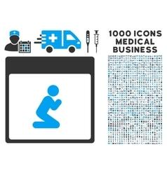Pray Person Calendar Page Icon With 1000 Medical vector image vector image
