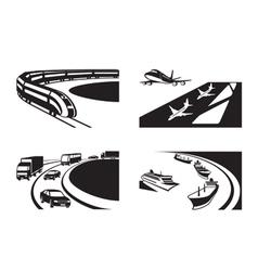 Different transportation scenes vector image vector image