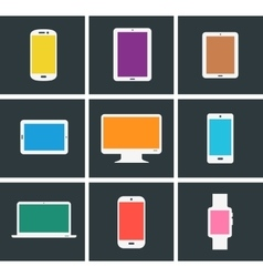 Flat modern colored electronic gadgets vector image