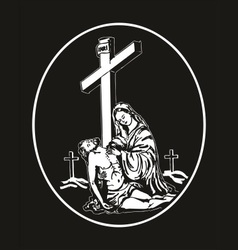 Jesus descent from the cross vector image