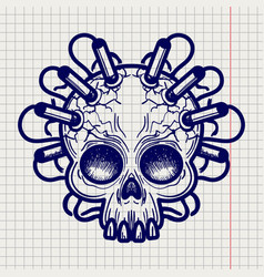 pen sketched monsters skull with dynamite vector image