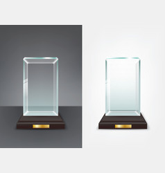 realistic glass trophy sport and business award vector image vector image