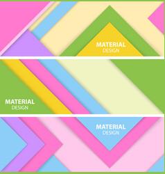set of three horizontal material design banner vector image vector image