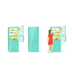 the woman takes in the fridge refrigerator vector image vector image