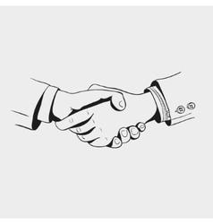 black and white icon hand drawn handshake vector image vector image