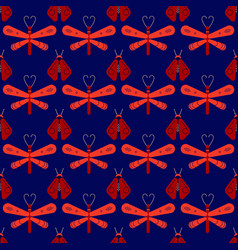 firefly and dragonfly seamless pattern vector image