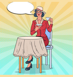 pop art beautiful woman drinking tea in cafe vector image vector image