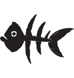 primitive fish skeleton vector image