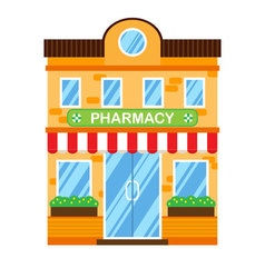 Retro building with pharmacy Flat design vector image vector image