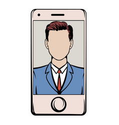 smart phone with a skype video icon cartoon vector image vector image