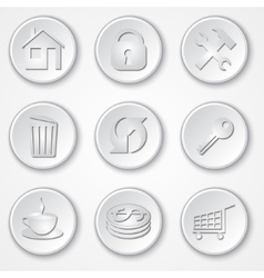 abstract round paper icon set vector image vector image