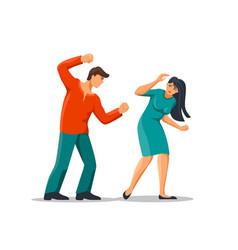 angry cartoon abuser man hitting fear woman vector image