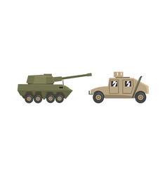 armored army machines set heavy special transport vector image