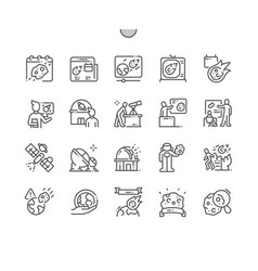 Asteroid day thin line icons vector
