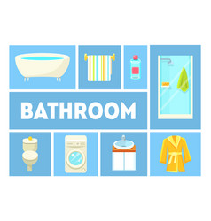Bathroom banner template furniture and vector
