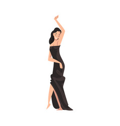 beautiful woman posing in black dress vector image
