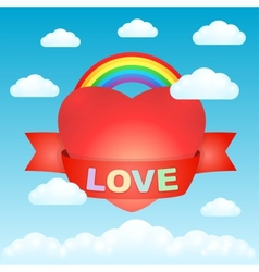 Big love heart in the sky vector image