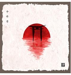 Big red sun and black sacred torii gates vector