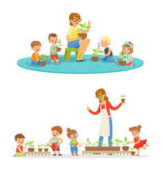 Biology lesson in kindergarten children looking vector