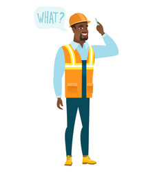 builder with question what in speech bubble vector image