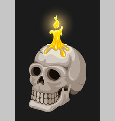 burning candle on candlestick in skull form vector image