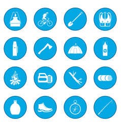 Camping icon blue vector