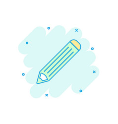 cartoon colored pencil icon in comic style brush vector image