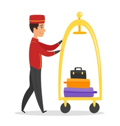 cartoon style of hotel bellboy vector image