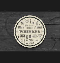 coaster for whiskey and alcoholic beverages vector image