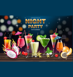 Cocktail drinks realistic banner night vector