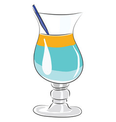 coctail glass with blue and yellow coctail and vector image