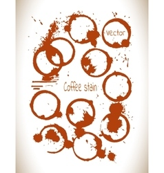 Coffee paint stains splashes isolated on white vector image