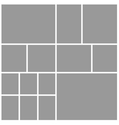Collage fourteen frames photos parts or pictures vector