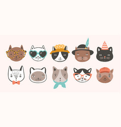 collection cute funny cat faces or heads vector image