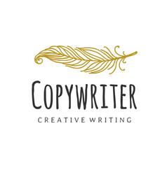 copywriter logo writer quill logotype vector image
