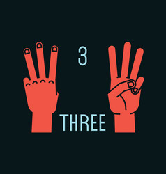 count on fingers number three gesture stylized vector image