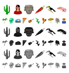 Country mexico cartoon icons in set collection for vector