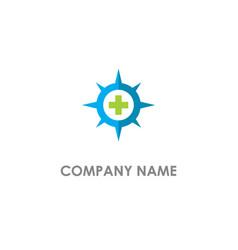 cross medic star logo vector image
