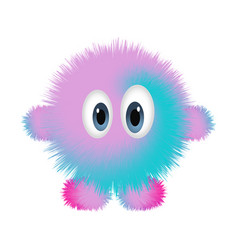 Cute furry monster on white background vector
