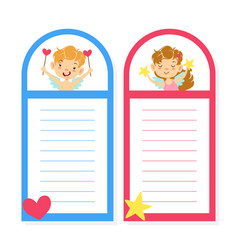 Cute notebook lined paper with baby angels vector