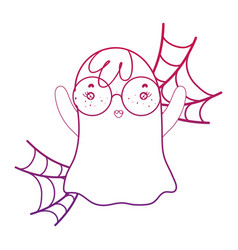 Degraded outline ghost wearing glasses with vector