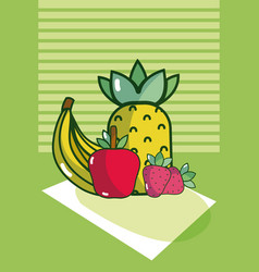Delicious food on tablecloth vector