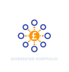 Diversified portfolio icon with pound vector