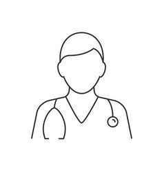 Doctor avatar with stethoscope line icon on white vector