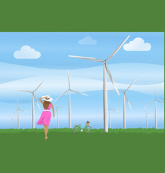 ecology concept women with bicycle and the wind vector image