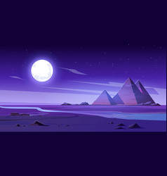 Egyptian desert with river and pyramids at night vector