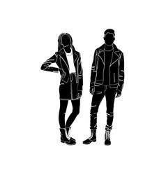 Fashionable girl and guy fashion man vector