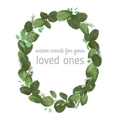 foliage oval wreath frame watercolor pattern vector image